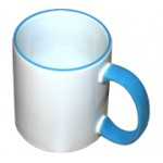 Кружка белая с голубой ручкой и ободком (с нанесением)