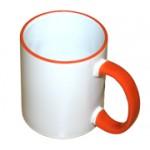 Кружка белая с оранжевой ручкой и ободком
